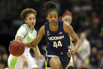 Connecticut's Aubrey Griffin (44) drives the ball upcourt against South Florida during the second half of an NCAA college basketball game Sunday, Feb. 16, 2020, in Tampa, Fla. (AP Photo/Mike Carlson)