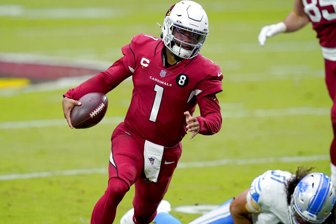 Arizona Cardinals quarterback Kyler Murray (1) scrambles against the Detroit Lions during the first half of an NFL football game, Sunday, Sept. 27, 2020, in Glendale, Ariz. (AP Photo/Ross D. Franklin)