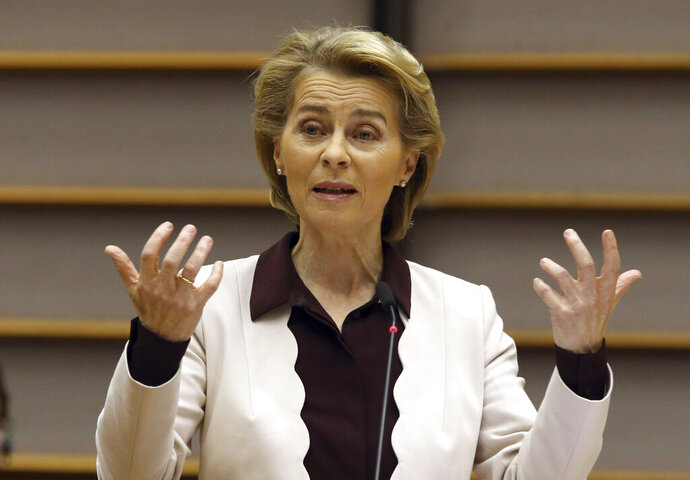 European Commission President Ursula von der Leyen addresses European lawmakers at the European Parliament in Brussels, Thursday, July 23, 2020. European leaders took a historic step towards sharing financial burdens among the EU's 27 countries by agreeing to borrow and spend together to pull the economy out of the deep recession caused by the coronavirus outbreak. (Francois Walschaerts, Pool Photo via AP)