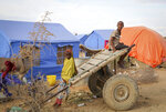 In this photo taken Monday, Nov. 4, 2019, children displaced by recent floods reach the outskirts of the town of Beledweyne in central Somalia Monday, Nov. 4, 2019. Authorities have not yet said how many people died in Somalia's recent flooding, the country's worst in recent history and the latest reminder that the Horn of Africa nation must prepare for the extremes predicted to come with a changing climate. (AP Photo/Mohamed Sheikh Nor)