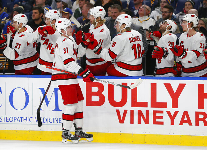 Carolina Hurricanes forward Andrei Svechnikov (37) celebrates his goal during the third period of an NHL hockey game against the Buffalo Sabres, Thursday, Nov. 14, 2019, in Buffalo N.Y. (AP Photo/Jeffrey T. Barnes)
