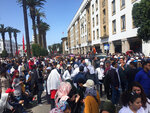 Several thousand Moroccan teachers carrying posters march across the streets of Rabat, Morocco, Sunday March 24, 2019. The protesters demand respect for their profession and higher wages.( AP Photo/Amira El Masaiti)