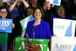 Democratic presidential candidate Sen. Amy Klobuchar, D-Minn., speaks at her election night party, Tuesday, Feb. 11, 2020, in Concord, N.H. (AP Photo/Robert F. Bukaty)