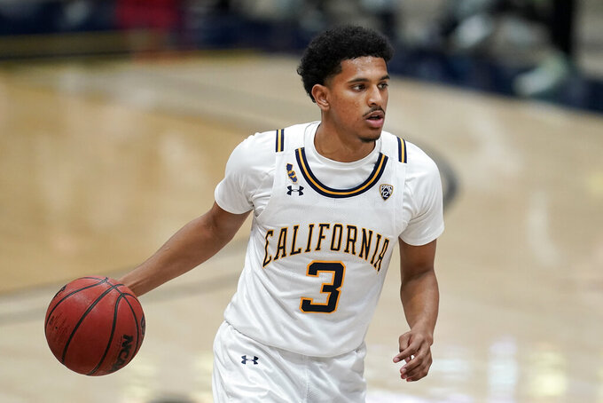 California guard Jarred Hyder (3) dribbles against Oregon during the second half of an NCAA college basketball game in Berkeley, Calif., Saturday, Feb. 27, 2021. (AP Photo/Jeff Chiu)