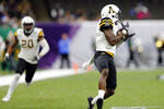 Appalachian State defensive back Shemar Jean-Charles (8) intercepts a UAB pass during the first half of the New Orleans Bowl NCAA college football game in New Orleans, Saturday, Dec. 21, 2019. (AP Photo/Brett Duke)