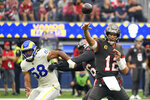 Tampa Bay Buccaneers quarterback Tom Brady throws during the first half of an NFL football game against the Los Angeles Rams Sunday, Sept. 26, 2021, in Inglewood, Calif. (AP Photo/Kevork Djansezian)