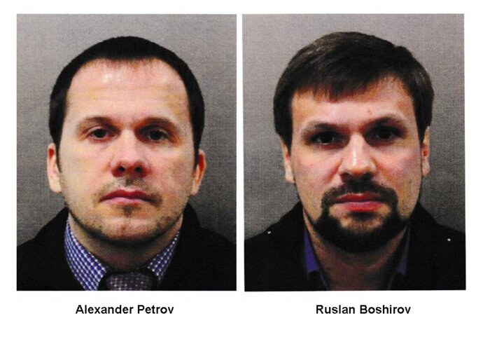 This combination photo made available by the Metropolitan Police on Wednesday Sept. 5, 2018, shows Alexander Petrov, left, and Ruslan Boshirov. British prosecutors have charged two Russian men, Alexander Petrov and Ruslan Boshirov, with the nerve agent poisoning of ex-spy Sergei Skripal and his daughter Yulia in the English city of Salisbury. They are charged in absentia with conspiracy to murder, attempted murder and use of the nerve agent Novichok. (Metropolitan Police via AP)