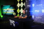 Oregon head coach Mario Cristobal answers questions during the Pac-12 Conference NCAA college football Media Day Tuesday, July 27, 2021, in Los Angeles. (AP Photo/Marcio Jose Sanchez)