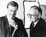 "FILE - Kansas City Chiefs owner Lamar Hunt, right, introduces new head coach Marty Schottenheimer at a press conference in Kansas City, Mo., in this Jan. 24, 1989, file photo. Schottenheimer, who won 200 regular-season games with four NFL teams thanks to his ""Martyball"" brand of smash-mouth football but regularly fell short in the playoffs, has died. He was 77. Schottenheimer died Monday night, Feb. 8, 2021,  at a hospice in Charlotte, North Carolina, his family said through Bob Moore, former Kansas City Chiefs publicist. (AP Photo/Cliff Schiappa)"