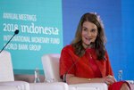 Melinda Gates, co-chair of the Bill and Melinda Gates Foundation, speaks during a seminar ahead of the annual meetings of the IMF and World Bank in Bali, Indonesia Thursday, Oct. 11, 2018. (AP Photo/Firdia Lisnawati)