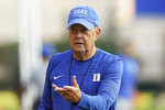 FILE - Duke coach David Cutcliffe is seen during an NCAA college football practice in Durham, N.C., in this Thursday, Aug. 5, 2021, file photo. The Blue Devils are coming off a two-win season that stands as the worst under longtime coach Cutcliffe. (AP Photo/Gerry Broome, File)