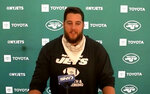 In a video grab from Zoom, New York Jets guard Greg Van Roten speaks during a news conference Aug. 6, 2020, at the NFL football team's facility in Florham Park, N.J. The big guys up front on the Jets' offensive line got close while being far apart. Group texts. Silly memes. Funny jokes. Serious Zoom conversations. They all helped keep the lines of communication open during months of social-distanced bonding for a revamped unit loaded with several players who had never actually met each other in person until a few weeks ago because of the coronavirus pandemic. (New York Jets via AP)