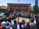 Thousand of Moroccan teachers shout in front of the Moroccan Parliament during a protest and the latest outbreak of anger at low-wage, temporary teaching contracts in Rabat, Morocco, Sunday March 24, 2019. The protesters demand respect for their profession and higher wages.( AP Photo/Amira El Masaiti)