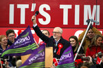 Labour Party leader Jeremy Corbyn speaks at a rally in Stainton Village, on the last day of General Election campaigning, in Middlesbrough, England, Wednesday, Dec. 11, 2019. Britain goes to the polls on Dec. 12. (Owen Humphreys/PA via AP)