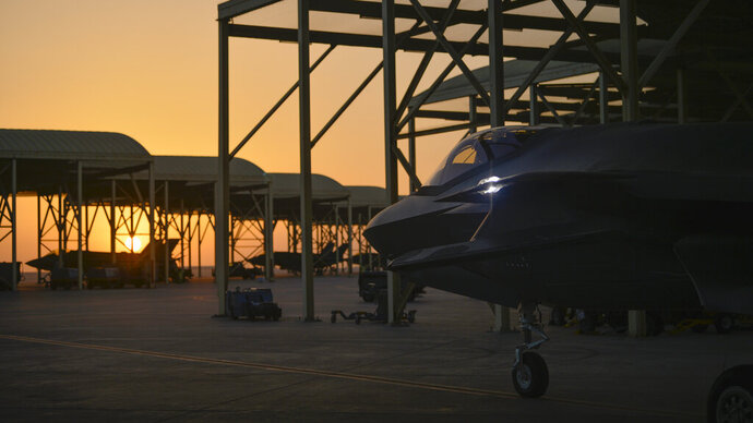 FILE - In this April 24, 2019, file photo released by the U.S. Air Force, an F-35A Lightning II fighter jet prepares to taxi and take off from Al-Dhafra Air Base in the United Arab Emirates, on April 24, 2019. The United States called Bahrain and the United Arab Emirates