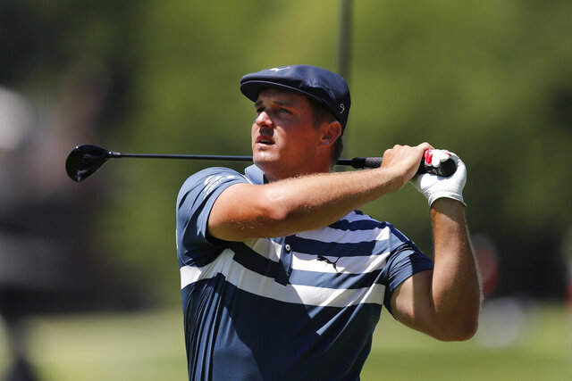 Bryson DeChambeau drives on the second tee during the final round of the Rocket Mortgage Classic golf tournament, Sunday, July 5, 2020, at Detroit Golf Club in Detroit. (AP Photo/Carlos Osorio)