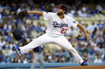 Los Angeles Dodgers starting pitcher Clayton Kershaw throws to the San Diego Padres during the first inning of a baseball game Friday, July 5, 2019, in Los Angeles. (AP Photo/Marcio Jose Sanchez)