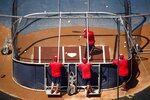 Washington Nationals' Anibal Sanchez, top, bats as the team holds its first baseball training camp workout at Nationals Stadium, Friday, July 3, 2020, in Washington. (AP Photo/Andrew Harnik)