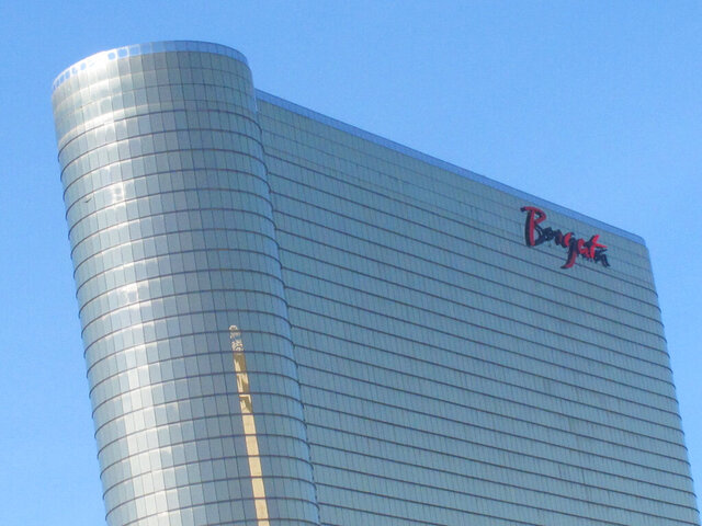 This Oct. 1, 2020, photo shows the exterior of the Borgata casino in Atlantic City, N.J. On Nov. 13, 2020, the Borgata laid off or reduced the hours of 422 workers in response to new restrictions on indoor dining imposed by New Jersey Gov. Phil Murphy. (AP Photo/Wayne Parry)