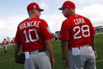 FILE - In this Feb. 14, 2018, file photo, Boston Red Sox manager Alex Cora (28) and bench coach Ron Roenicke (10) chat during baseball spring training in Fort Myers, Fla. The Red Sox  announced on Tuesday, Feb. 11, 2020, that Roenicke has been named interim manager. He takes over from Alex Cora, who was let go for directing the sign-stealing scheme with the Houston Astros in 2017, the year before he took over in Boston. (AP Photo/John Minchillo)
