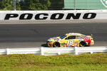 Kyle Busch (18) motors around the track during a NASCAR Cup Series auto race at Pocono Raceway, Sunday, June 27, 2021, in Long Pond, Pa. Busch won the race. (AP Photo/Matt Slocum)