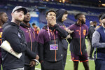 Oklahoma quarterback Kyler Murray watches drill at the NFL football scouting combine in Indianapolis, Saturday, March 2, 2019. (AP Photo/Michael Conroy)