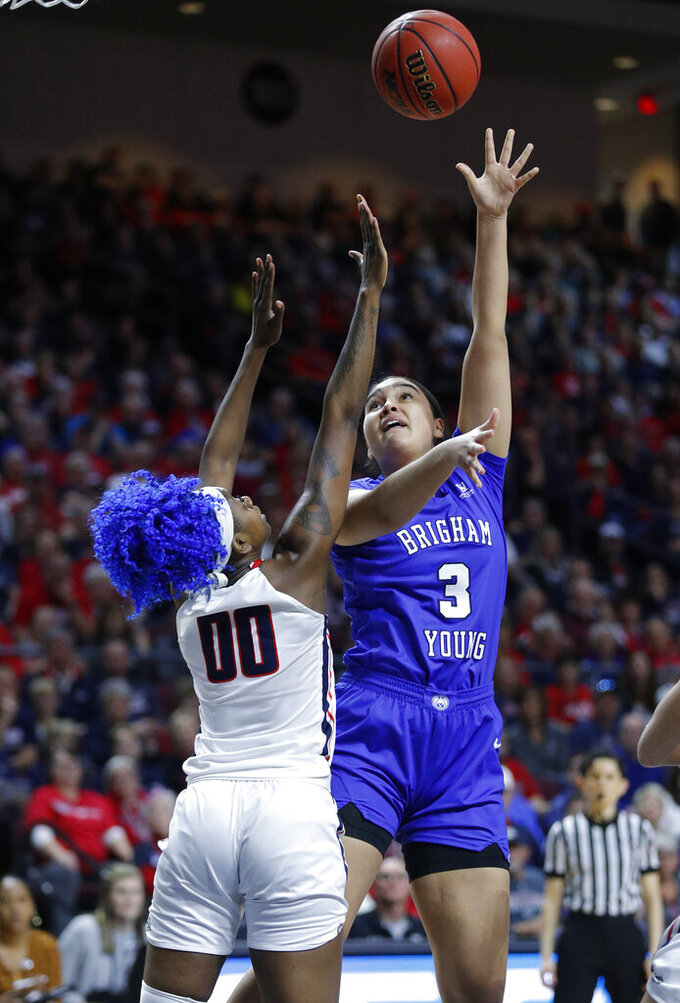 BYU's Shalae Salmon shoots over Gonzaga's Zykera Rice during the first half of an NCAA final college basketball game at the West Coast Conference women's tournament, Tuesday, March 12, 2019, in Las Vegas. (AP Photo/John Locher)
