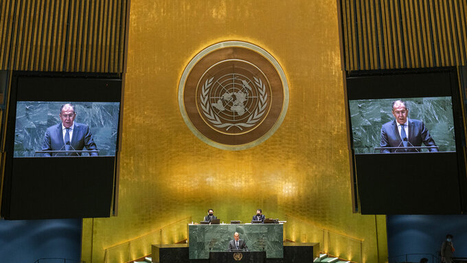 Russia's Foreign Minister Sergei Lavrov addresses the 76th Session of the U.N. General Assembly at United Nations headquarters in New York, on Saturday, Sept. 25, 2021.  (Eduardo Munoz/Pool Photo via AP)