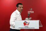 Greece's Prime Minister Alexis Tsipras prepares to make statements at the Syriza party headquarters in Athens on Sunday, May 26, 2019. New Democracy leader Kyriakos Mitsotakis, the protected winner of Sunday's European election, has just called on Prime Minister Alexis Tsipras to resign.(AP Photo/Yorgos Karahalis)