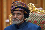 FILE - In this Jan. 14, 2019 file photo, Sultan Qaboos bin Said of Oman sits during a meeting with Secretary of State Mike Pompeo at the Beit Al Baraka Royal Palace in Muscat, Oman. Oman's 79-year-old ruler Sultan Qaboos bin Said is in