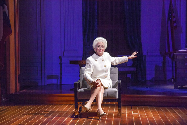 This image released by PBS shows Holland Taylor portraying the late Texas Gov. Ann Richards in a scene from
