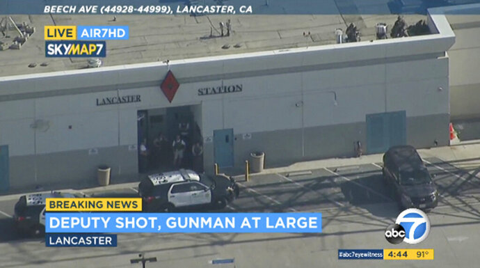 FILE - This Wednesday, Aug. 21, 2019 file image taken from video provided by KABC-TV shows the outside of a Los Angeles County sheriff's station in Lancaster, Calif. The Los Angeles County Sheriff's Department says a deputy who claimed he was shot in a station parking lot earlier this week was lying. Assistant Sheriff Robin Limon said at a news conference late Saturday that Wednesday's