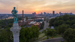 This photo shows the Statue of Confederate Soldiers & Sailors Monument on Libby Hill as the sun sets in Richmond, Va., Monday, July 6, 2020. The 17-foot statue resting on a 73 foot pedestal is slated to be removed by the city along with the other Confederate monuments in the city. (AP Photo/Steve Helber)