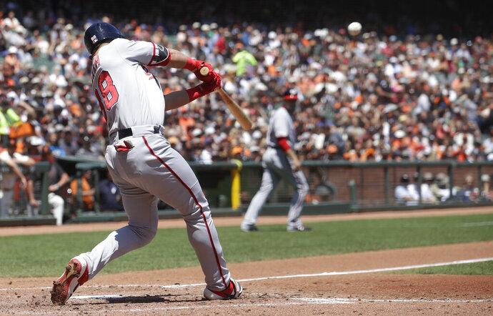 Washington Nationals' Gerardo Parra hits a three-run home run against the San Francisco Giants during the third inning of a baseball game in San Francisco, Wednesday, Aug. 7, 2019. (AP Photo/Jeff Chiu)