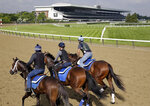 FILE - In this June 6, 2019, file photo, riders workout with horses at Belmont Park in Elmont, N.Y. After a 4-year-old colt exhibited fever and neurological symptoms on Saturday, June 27, 2020, a barn at Belmont Park has been placed under a precautionary quarantine because of a suspected case of equine herpesvirus Type 1. (AP Photo/Seth Wenig, File)