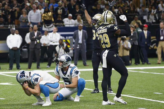 Carolina Panthers kicker Joey Slye (4) reacts after missing a field goal, late in the fourth quarter during an NFL football game against the New Orleans Saints, Sunday, Nov. 24, 2019, in New Orleans. (AP Photo/Butch Dill)