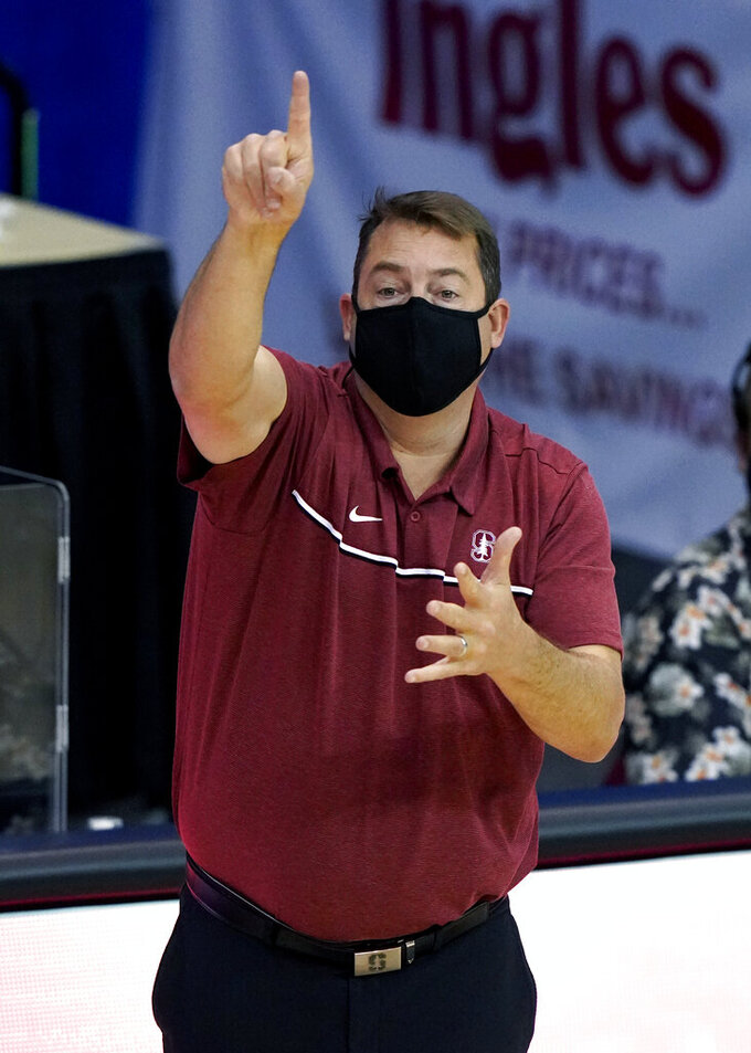 Stanford coach Jerod Haase gestures during the second half of the team's NCAA college basketball game in the semifinals of the Maui Invitational, Tuesday, Dec. 1, 2020, in Asheville, N.C. (AP Photo/Kathy Kmonicek)