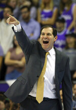 Baylor head coach Scott Drew gestures from the sidelines during an NCAA college basketball game against TCU on Saturday, Feb. 29, 2020 in Fort Worth, Texas. (AP Photo/Richard W. Rodriguez)