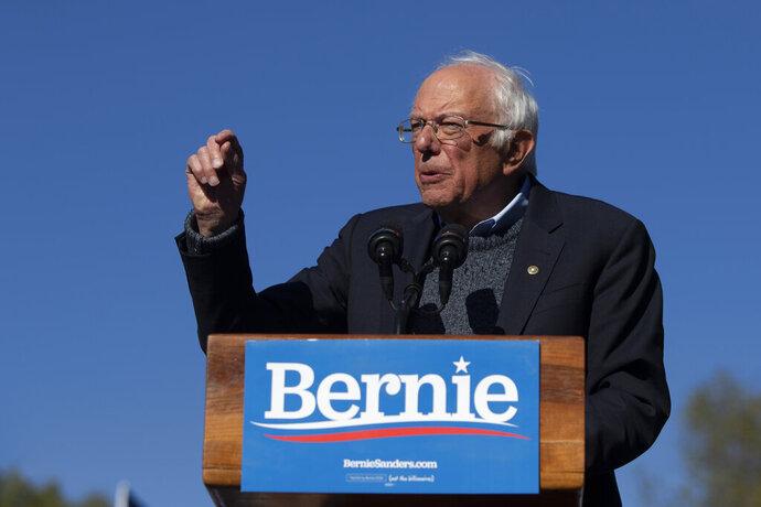 Democratic presidential candidate Sen. Bernie Sanders, I-Vt., speaks to supporters during a rally Saturday, Oct. 19, 2019, in New York. (AP Photo/Eduardo Munoz Alvarez)