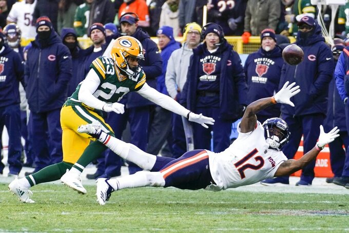 Chicago Bears' Allen Robinson II can't catch a pass with Green Bay Packers' Jaire Alexander defending during the second half of an NFL football game Sunday, Dec. 15, 2019, in Green Bay, Wis. (AP Photo/Morry Gash)
