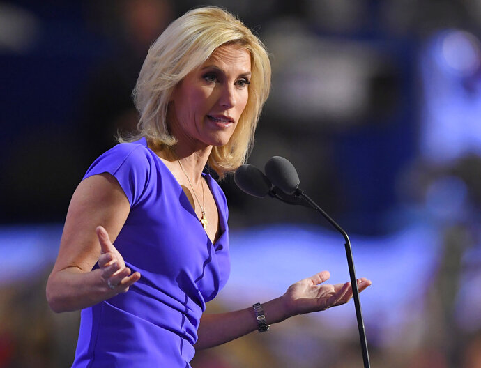 FILE - In this Wednesday, July 20, 2016, file photo, conservative political commentator Laura Ingraham speaks during the third day of the Republican National Convention in Cleveland. Ingraham says she disavows the support of white nationalists and claims that her views about the nation's demographic changes have been distorted. The Fox News personality responded to critics of her commentary that massive demographic changes that most Americans don't like have been forced upon the country by legal and illegal immigration. (AP Photo/Mark J. Terrill, File)