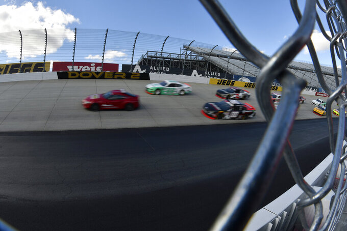 The pace car leads the field at the beginning of the  NASCAR Xfinity Series auto race, Saturday, Oct. 5, 2019, in Dover, Del. (AP Photo/Brien Aho)