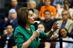 Speaker of the House Nancy Pelosi, D-Calif., gestures as she speaks during panel discussion at Delaware County Community College, Friday, May 24, 2019, in Media, Pa. (AP Photo/Matt Slocum)