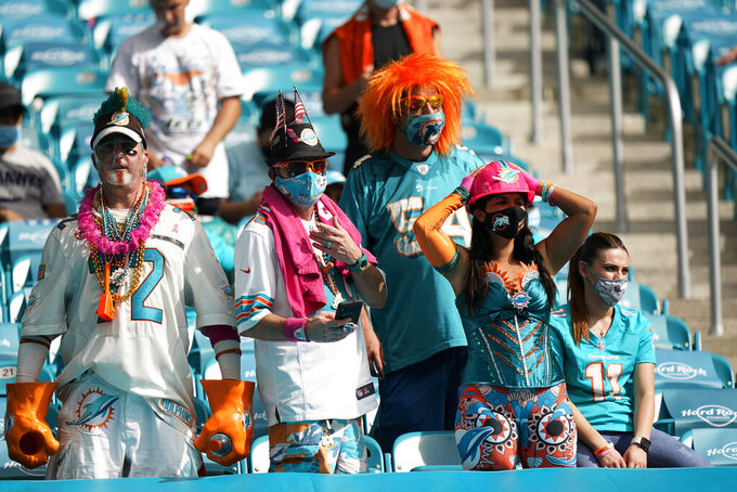 Miami Dolphins fans react as the team falls further behind during the second half of an NFL football game against the Seattle Seahawks, Sunday, Oct. 4, 2020 in Miami Gardens, Fla. The Seahawks defeated the Dolphins 31-23.(AP Photo/Wilfredo Lee)