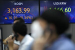 Currency traders talk on phones near screens showing the Korea Composite Stock Price Index (KOSPI), left, and the foreign exchange rate between U.S. dollar and South Korean won at a foreign exchange dealing room in Seoul, South Korea, Thursday, Sept. 16, 2021. Stocks were mostly lower in Asia on Thursday after Japan and China released data that were weaker than expected. (AP Photo/Lee Jin-man)