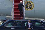 President Donald Trump boards Air Force One for a trip to Wisconsin, Thursday, June 25, 2020, in Andrews Air Force Base, Md.  (AP Photo/Susan Walsh)