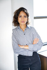 This Oct. 15, 2019 photo shows Mati Diop posing for a portrait in New York to promote her film