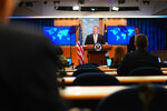 Secretary of State Mike Pompeo speaks during a press conference at the State Department, Wednesday, June 24, 2020 in Washington, as State Department Coordinator for Counterterrorism, Ambassador Nathan Sales, right, look on. (Mandel Ngan/Pool via AP)