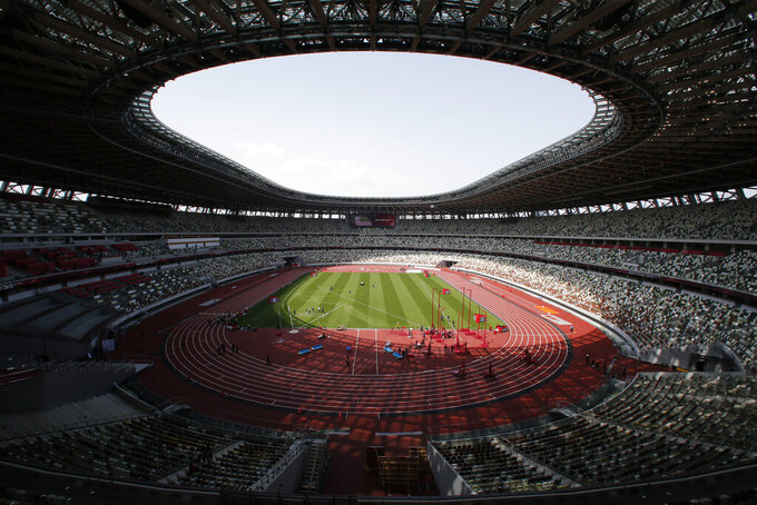 A general view of National Stadium during an athletics test event for the Tokyo 2020 Olympics Games in Tokyo, Sunday, May 9, 2021. (AP Photo/Shuji Kajiyama)