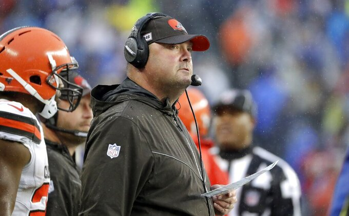 Cleveland Browns head coach Freddie Kitchens watches from the sideline in the first half of an NFL football game against the New England Patriots, Sunday, Oct. 27, 2019, in Foxborough, Mass. (AP Photo/Steven Senne)